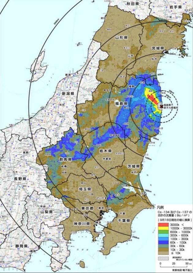 東京と神奈川のセシウム分布図がついに完成のサムネイル画像