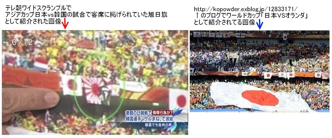 テレビ朝日、他の試合の画像を日韓戦のように捏造するのサムネイル画像