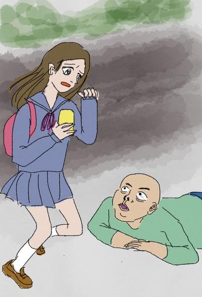 【群馬】女子学生、道路に倒れた男性を発見 → 心配して駆け寄った結果がヤバい・・・・・のサムネイル画像