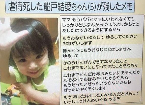 【5歳女児虐待死】父親の実子・弟と結愛ちゃんの扱いの差がひどすぎる・・・のサムネイル画像