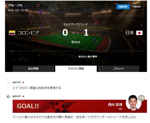 【ワールドカップ】日本、コロンビアに先制!!!!のサムネイル画像