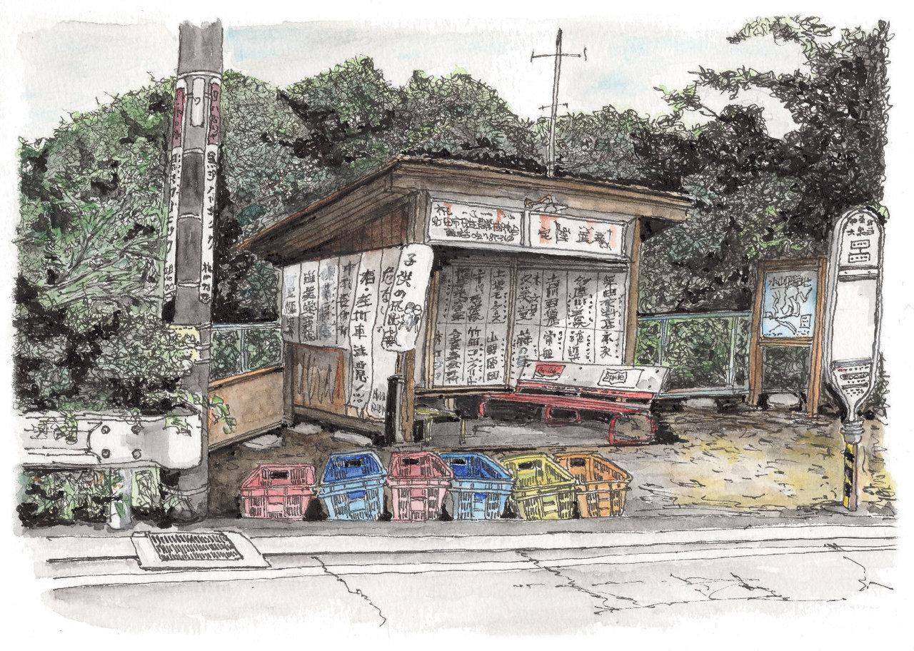 170822_大泉寺バス停 資源ゴミ回収日の朝