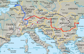 Rhine Danube map