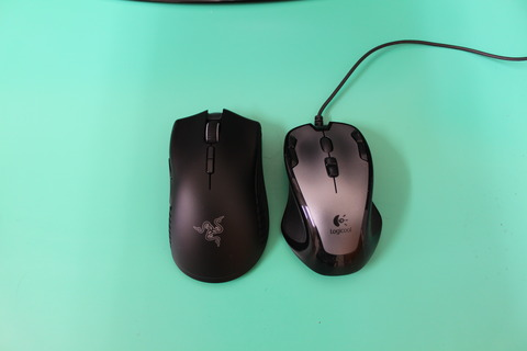Razer Mamba Wireless G300 大きさ比較