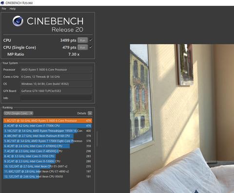 CINEBENCH20 シングルコア
