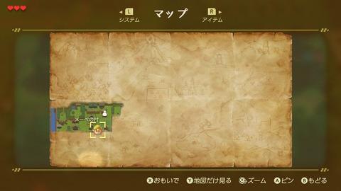 ゼルダの伝説 夢をみる島 マップ画面