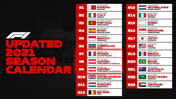 2021年F1カレンダー:5月14日変更版