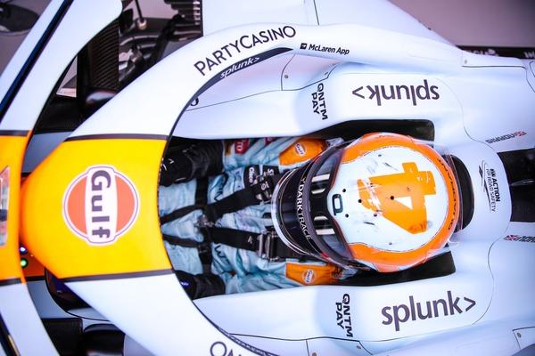 ランド・ノリス(マクラーレン)モナコ仕様のヘルメット:ガルフデザイン