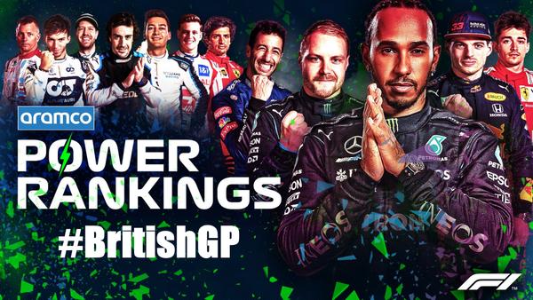 F1パワーランキング 2021年第10戦イギリスGP
