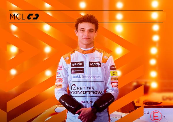 ランド・ノリス、ガルフ・デザインのレーシングスーツ:2021年F1モナコGP