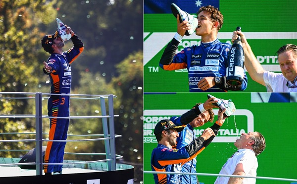 表彰台でシューイをするダニエル・リチャルド、今回の笑顔の犠牲者は、同じチームのランド・ノリスとザク・ブラウン:2021年F1イタリアGP
