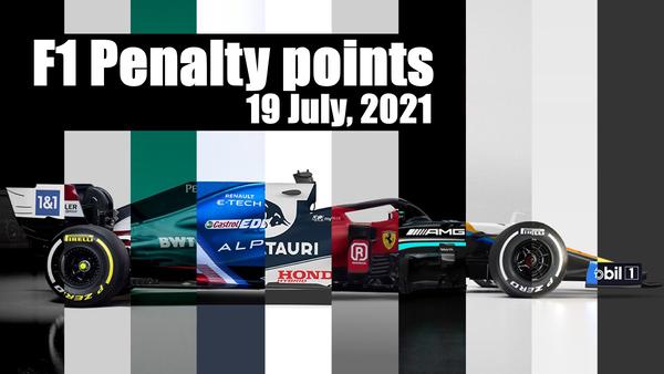 F1ドライバーのペナルティ・ポイント一覧表:2021年7月19日