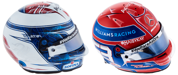 ニコラス・ラティフィとジョージ・ラッセルのヘルメット(ウィリアムズ)2021年F1