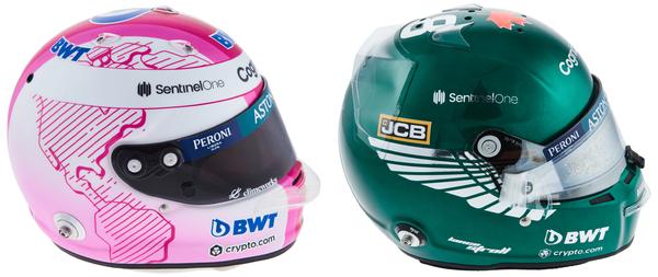 セバスチャン・ベッテルとランス・ストロールのヘルメット(アストンマーティン)2021年F1
