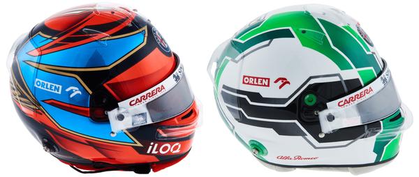 キミ・ライコネンとアントニオ・ジョビナッツィのヘルメット(アルファロメオ)2021年F1
