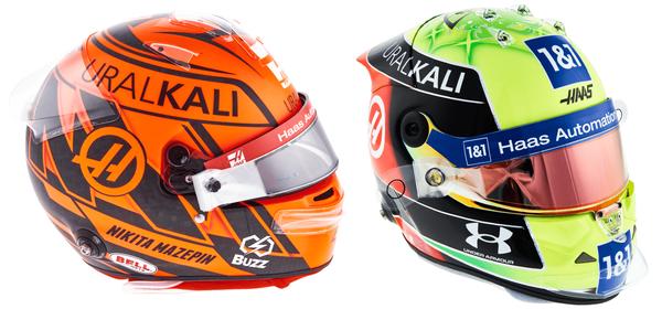 ニキータ・マゼピンとミック・シューマッハのヘルメット(ハース)2021年F1