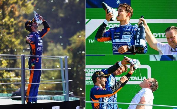 ダニエル・リチャルド、まずは自身でシューイをやり、次にランド・ノリスとザク・ブラウンが笑顔で被害にあう:2021年F1イタリアGP