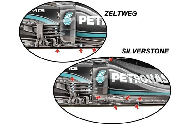 メルセデスW12のオーストリア(上)とシルバーストン(下)におけるメルセデスのバージボードを示すジョルジオ・ピオラのイラスト