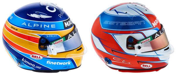 フェルナンド・アロンソとエステバン・オコンのヘルメット(アルピーヌ)2021年F1
