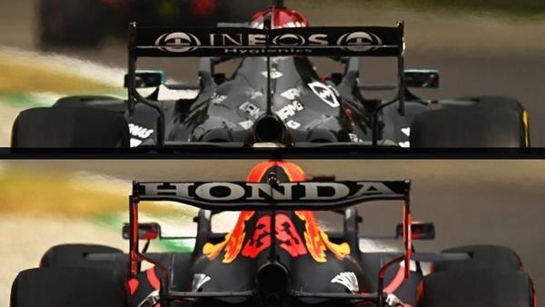 金曜日のモンツァにおけるメルセデスW12(上)とレッドブル・ホンダRB16B(下)のリアウイング。レッドブルのウイングのスプーン状の輪郭がわかる:2021年F1イタリアGP