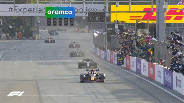 2021年F1アゼルバイジャンGPのフィニッシュ・シーン