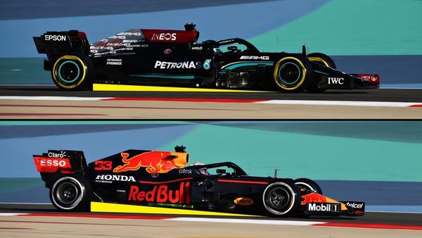 メルセデスW12とレッドブル・ホンダRB16Bの傾斜角(レーキ角)の比較(シーズン前テスト)