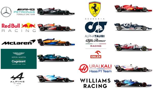 2021年F1チーム・ロゴとF1マシン