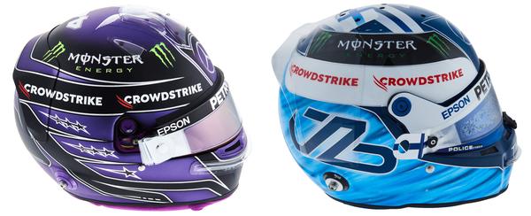 イス・ハミルトンとヴァルテリ・ボタスのヘルメット(メルセデス)2021年F1