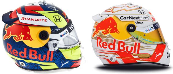 セルジオ・ペレスとマックス・フェルスタッペンのヘルメット(レッドブル・ホンダ)2021年F1