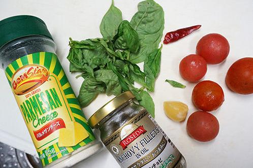 ミニトマトとバジルのペペロンチーノ04