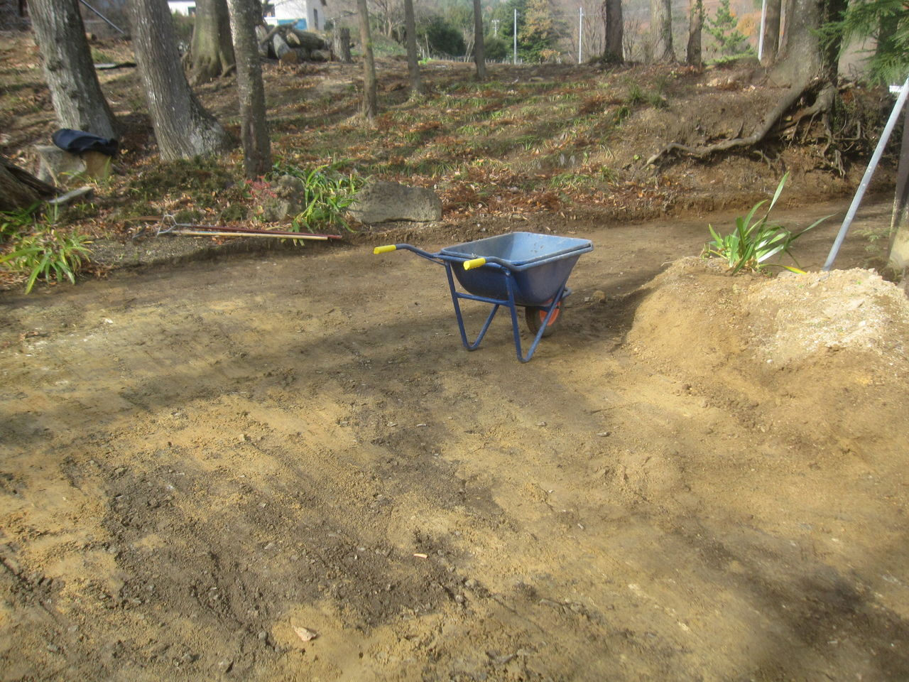 003 実際の除染面積は僅かなので、昨日の作業で半分以上の土砂が削り取られていた。 土砂の除染は