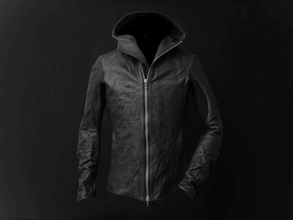 Devoa Cow Leather Hooded Jacket_1