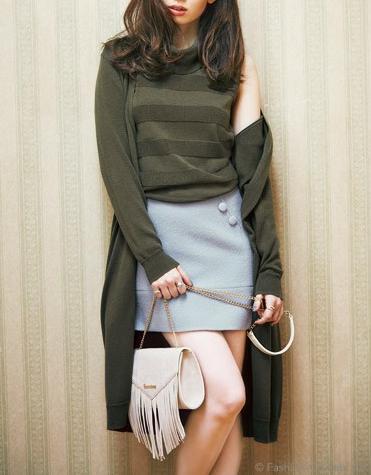 リランドチュールの宮田聡子着用のボーダーTOPS×ロングカーディガンSETが人気ですね!