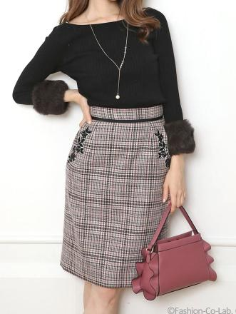 Apuweiser-riche (アプワイザーリッシェ)ポケット刺繍チェックタイトスカート