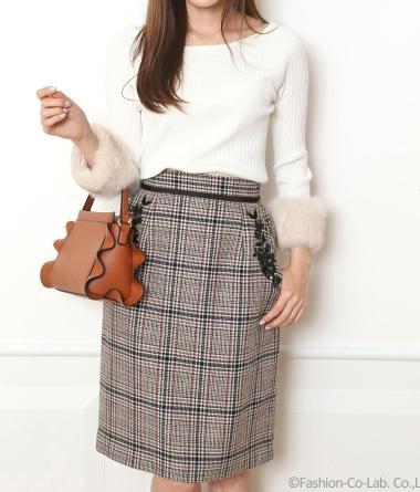 アプワイザーリッシェポケット刺繍チェックタイトスカート2
