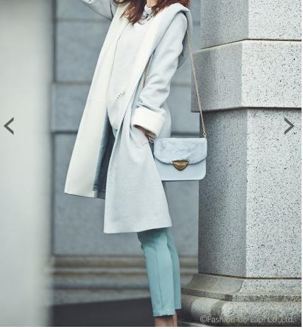 ファッションウォーカーアプワイザー 配色フードガウンコート