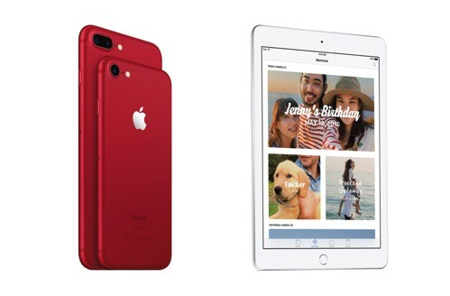 Red iphone and new ipad