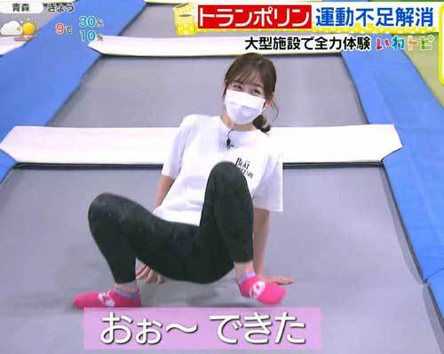岩田絵里奈アナ、股間をモロ晒す!レギンスのお股パックリさせ過ぎました