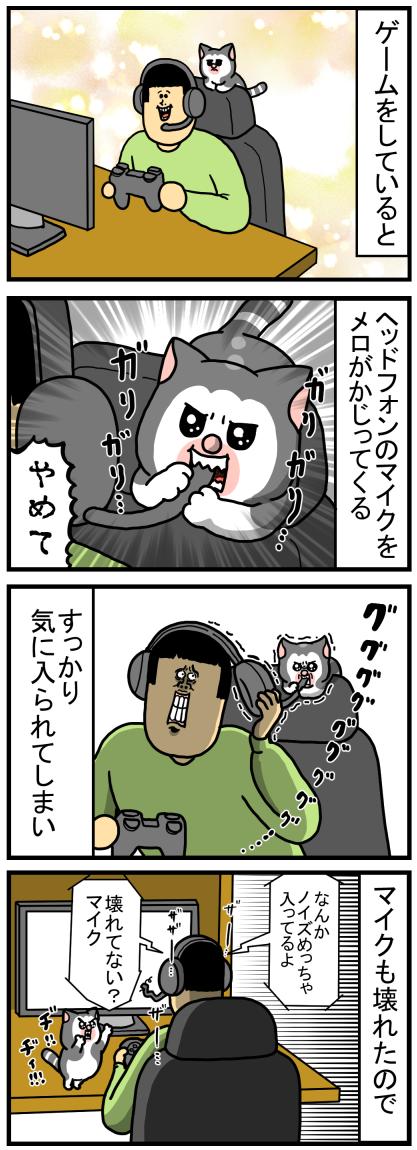 ヘッドフォンについてるマイクが好きな猫