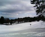 雪景色のゴルフ場