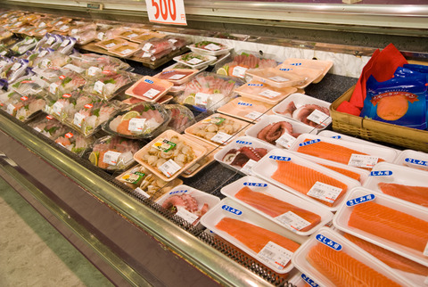 fish on display at a japanese supermarket