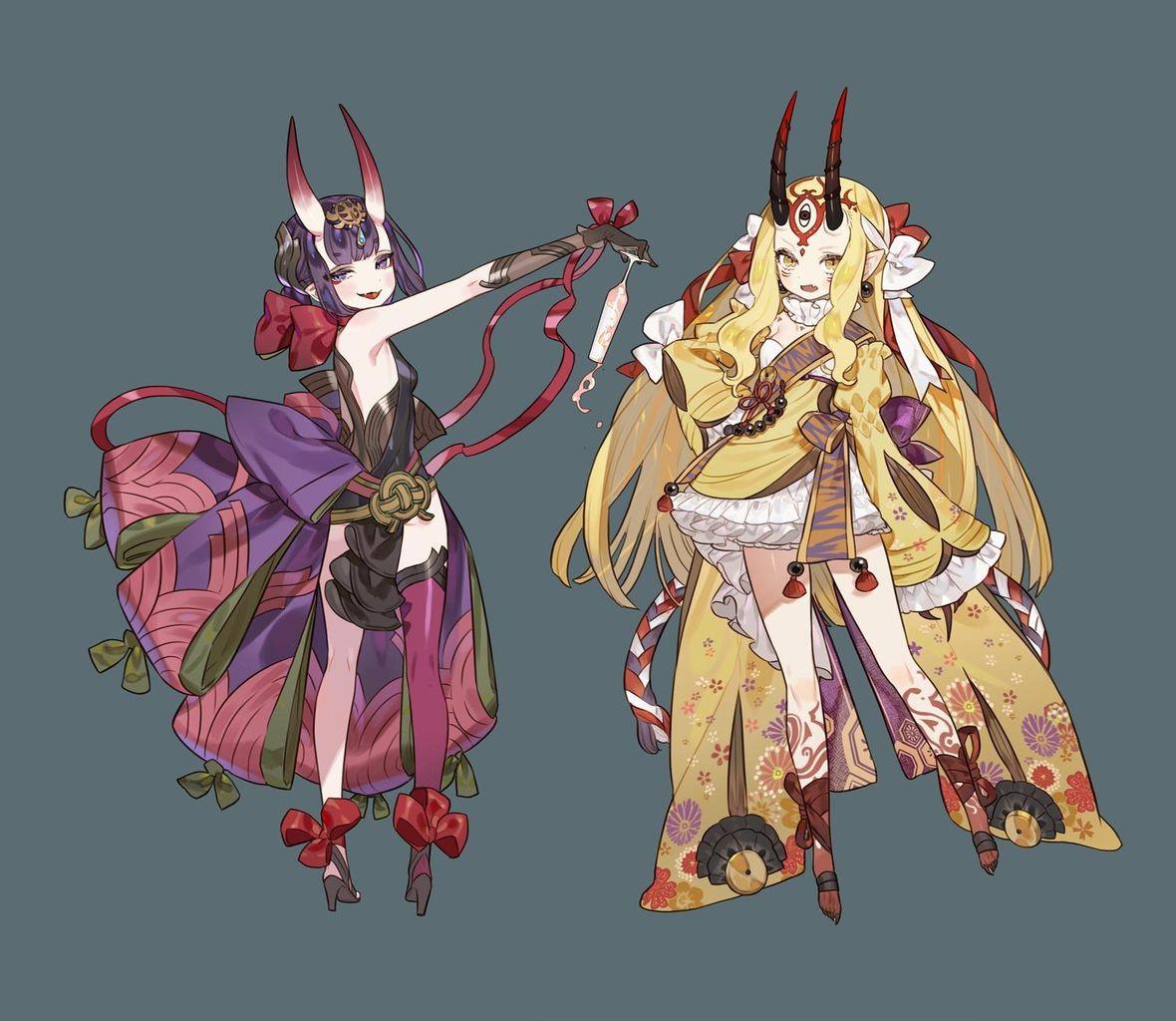 FGO】鬼コンビ&アナスタシアのドレス風衣装!! 和風ドレスすこ!