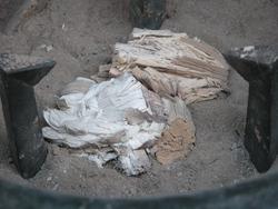 備長炭の灰
