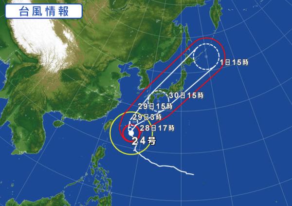 【悲報】台風24号、日本縦断ツアーを開催