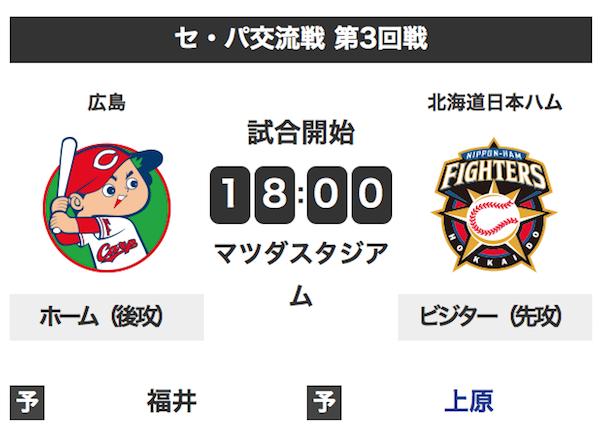 今日試合の日本ハムファイターズさん、広島にいけない
