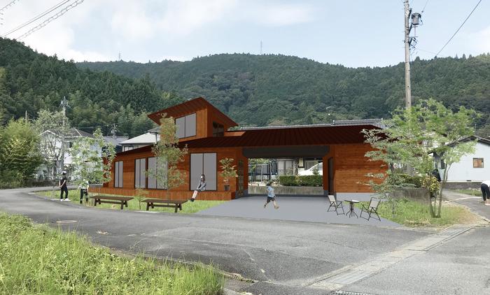 北松野の家CG屋根レッドブラウン壁オレンジ
