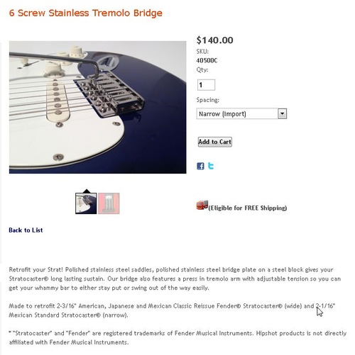 HIPSHOT 6 Screw Stainless Tremolo Bridge Narrow