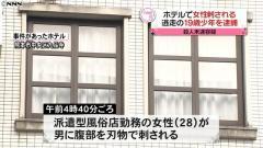 ホテルで派遣型風俗店の28歳女性刺される 19歳少年逮捕 熊本