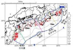 南海トラフ地震 紀伊半島と愛媛県で深部低周波地震