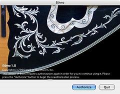 Ethno Instrument オーサライズ画面